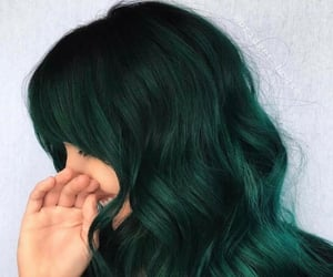 green hair, hairstyle, and wavy image