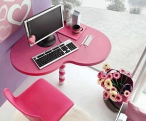 pink, room, and computer image