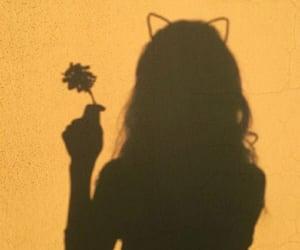 yellow, girl, and shadow image