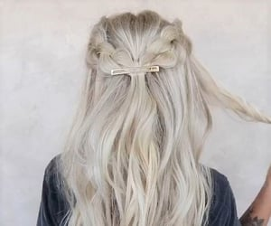 beauty, blonde hair, and braids image