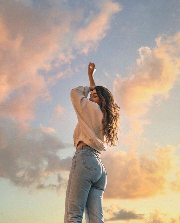 sunset, girl, and clouds image
