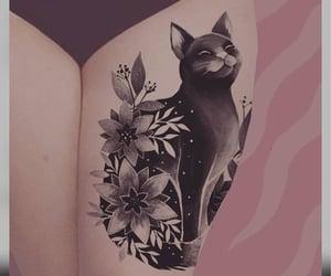 art, tattoo, and cat image