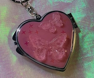 butterflies, keychain, and pink image