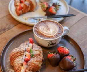 croissant, strawberry, and breakfast image