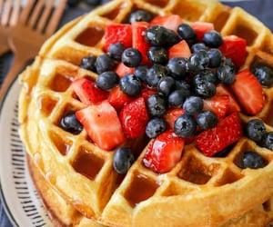blueberry, waffle, and strawberry image