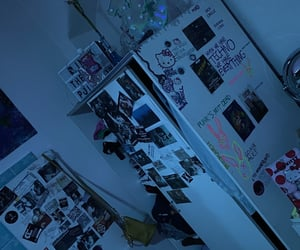 art, bedroom, and blue image