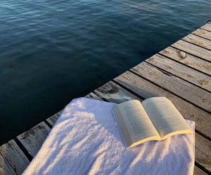 beach, lake, and book image