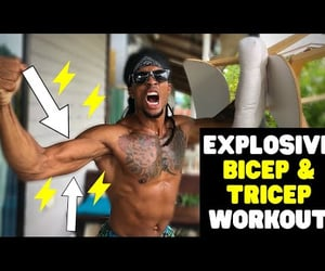 video, explosive bicep workout, and explosive tricep workout image