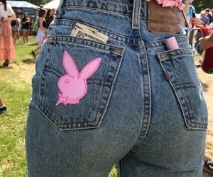 pink, jeans, and Playboy image