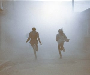 run, boy, and fog image