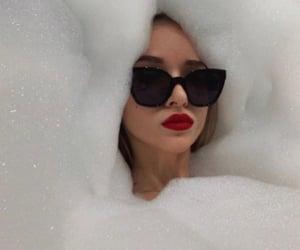 girl, make up, and sunglasses image