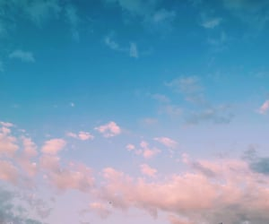 blue sky, heart, and clouds image