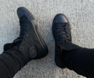 black, shoes, and total black image