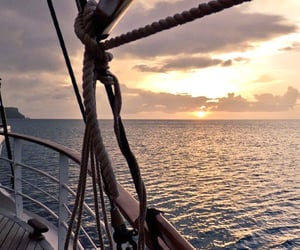 nature, sea, and sunset image