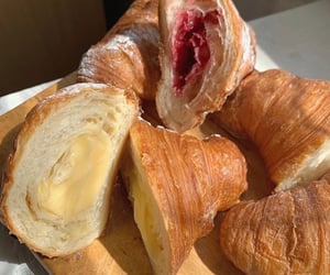 food, croissant, and strawberry image