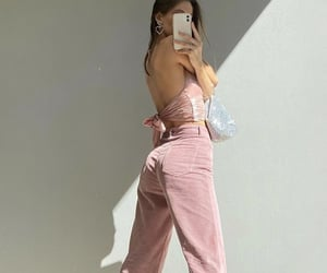 pink outfit, outfit inspiration inspo, and backless top image