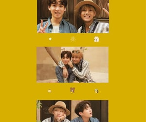 yellow wallpaper, kim taehyung, and jeon jungkook image