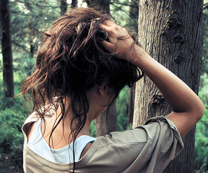 girl, hair, and forest image
