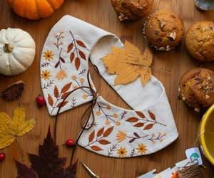 Autumn Leaf Embroidered Linen Collar PRE ORDER image 0