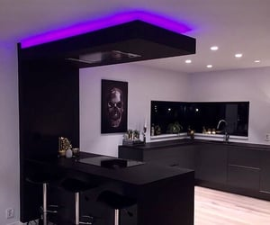 black, kitchen, and purple image
