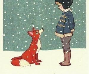 fox, illustration, and snow image