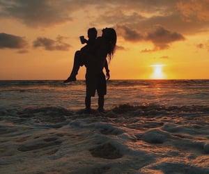 beach, love, and sea image