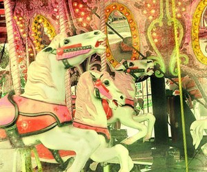 horse, carousel, and pink image
