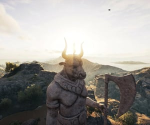 Assassins Creed, statue, and sunset image