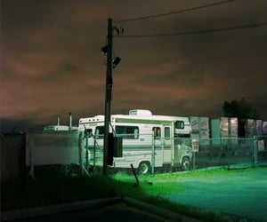 Camper, green, and night image