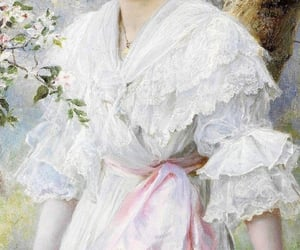 art, lady, and white dress image