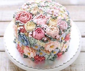 cake, flowers, and pastel image