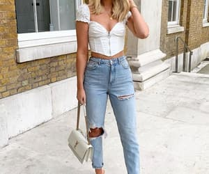 french fashion, crop top, and mom jeans image