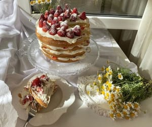 cake, food, and flowers image