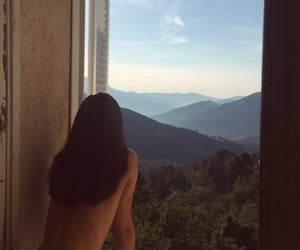 long hair, mountains, and window image