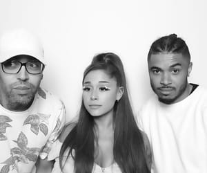 black and white and ariana grande image