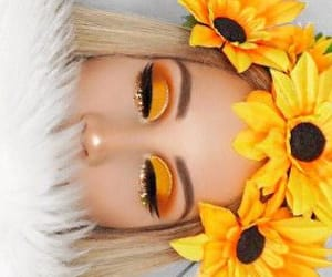 makeup, yellow, and sunflower image