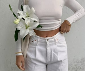white flowers, white top, and long sleeve top image