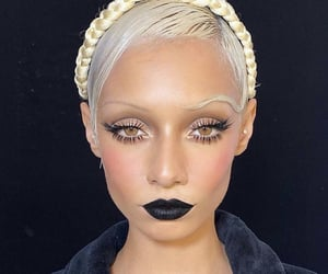 art, black lipstick, and makeup image
