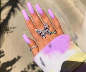 nails, purple, and butterfly image