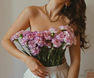 flowers and girl image