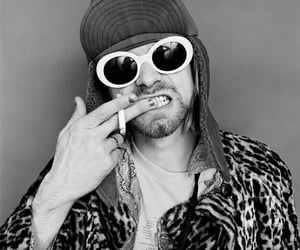 black and white, cigar, and kurt cobain image