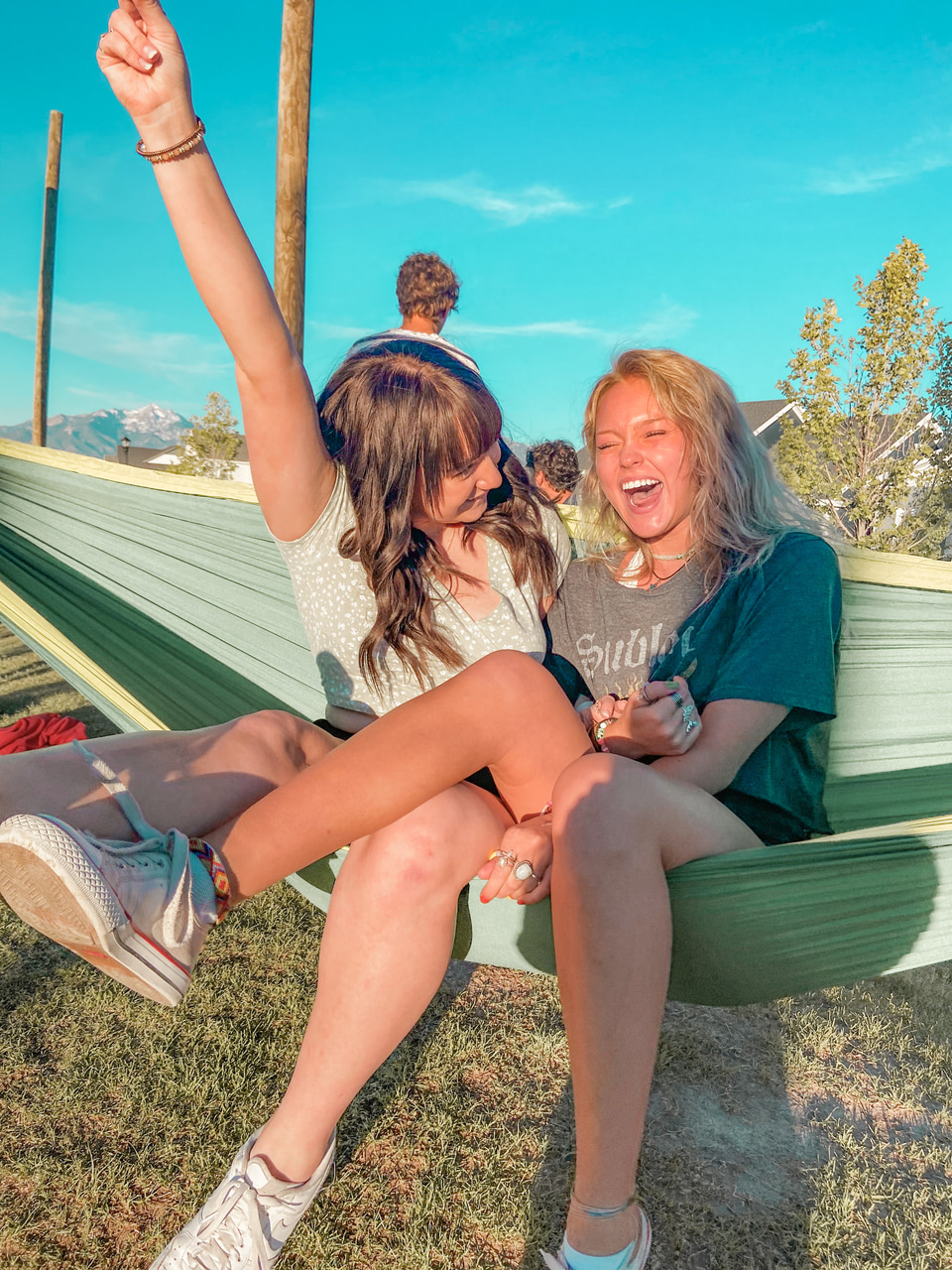 bff, hammock, and laugh image