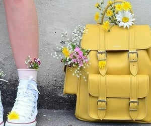 yellow, backpack, and flowers image