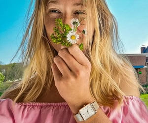blonde, flowers, and bluesky ​ image
