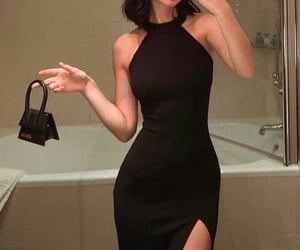 black dress, dress, and girl image