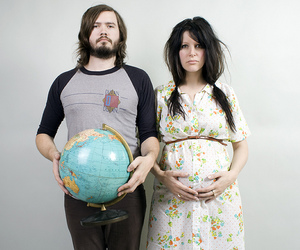 couple, globe, and pregnant image
