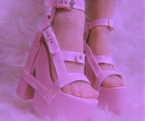 high heels, pink heels, and aesthetic shoe image