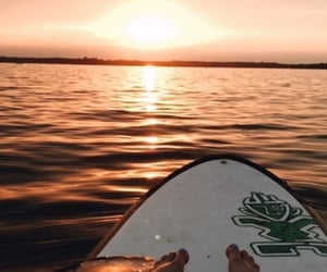 beach, sunset, and surfing image