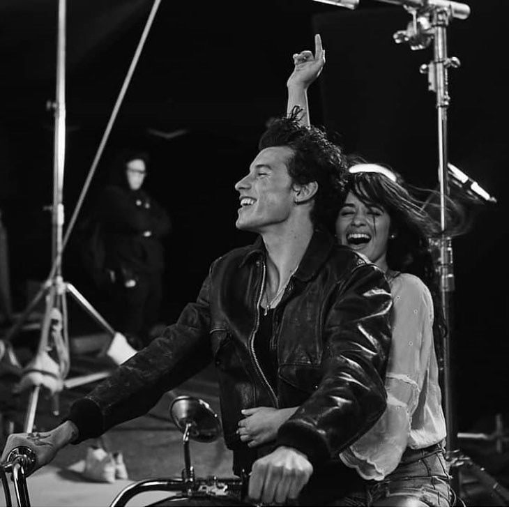 camila cabello, shawn mendes, and black and white image