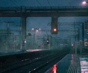 train, train station, and rainy days image
